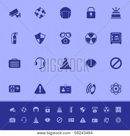 Safety Color Icons On Blue Background