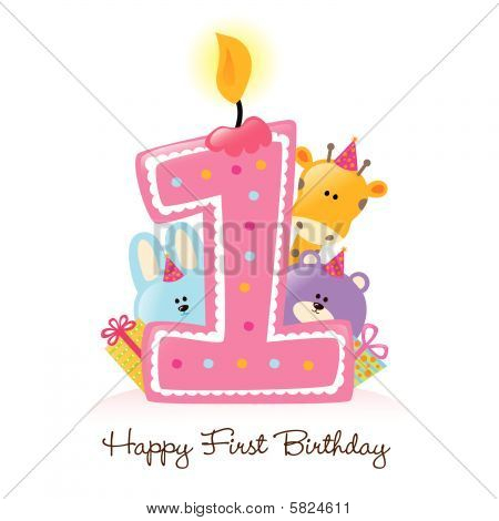 Illustration Happy First Birthday Candle and Animals (Isolated on white) poster