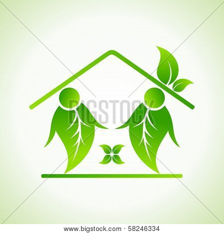 Green home icon on white