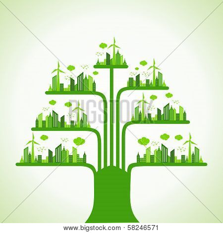 Eco cityscape make a tree