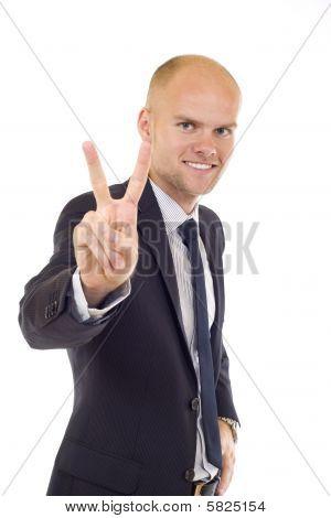 Very Happy Successful Gesturing Businessman