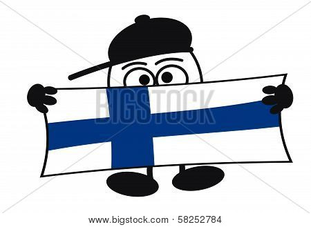 Egghead cartoon character with big eyes holding a sign with the flag of Finland poster