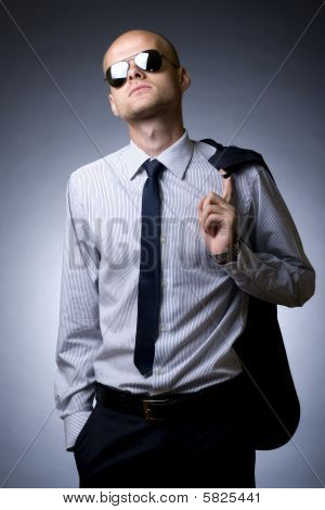 Young Businessman Looking Down To You