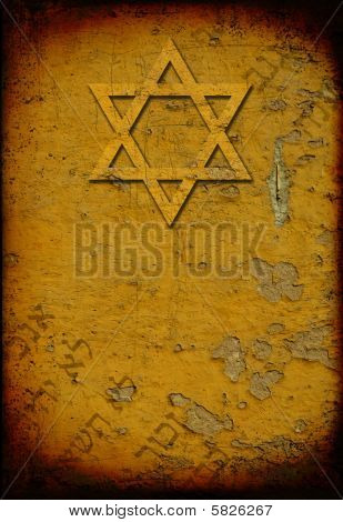 Grunge Jewish Background With David Star and  Hebrew Letters