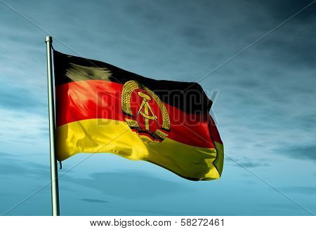 East Germany flag (1949 to 1990) waving on the wind poster