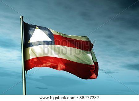 Bahia (Brazil) flag waving in the evening