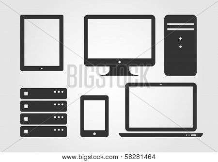 Electronic Device Icons, flat design