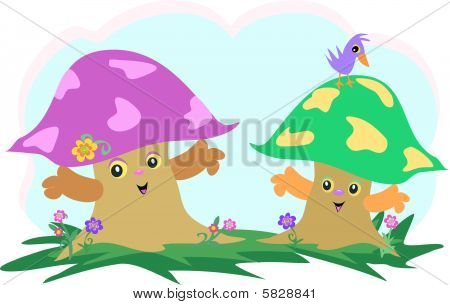 These two Mushroom Friends hang out with a purple Bird. poster