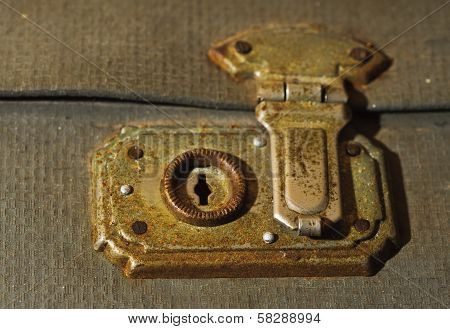 Old Vintage Lock On A Bag. Memory Of The Past