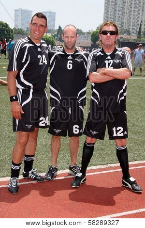 Vinnie Jones and Jason Statham at the Soccer for Survivors Celebrity Showcase Match. Beverly Hills High School, Beverly Hills, CA. 07-22-07