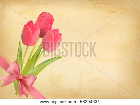 Holiday Vintage Background With Pink Flowers And Gift Bow. Vector Illustration