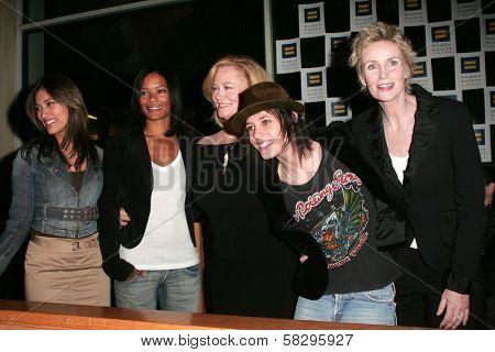 Janina Gavankar, Rose Rollins, Cybill Shepherd, Katherine Moennig and Jane Lynch at the 4th season kick-off party for