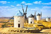 Windmills of Cervantes Don Quixote in Consuegra. Castile La Mancha Spain Europe poster