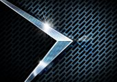 Abstract background with blue metallic grid and chrome arrow poster