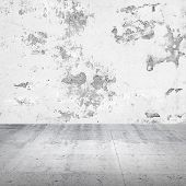 Abstract empty white interior with damaged concrete wall poster