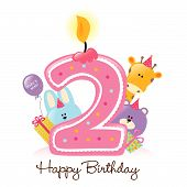 Illustration of Happy Birthday Candle and Animals Isolated on white poster