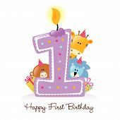 Illustration of Birthday Candle and Animals Isolated poster