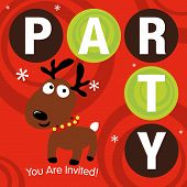 Vector Christmas Party template with reindeer poster