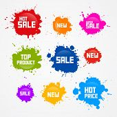 Colorful Vector Sale Blots Splash Icons Isolated on White Background poster