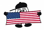 Egghead cartoon character with big eyes holding a sign with the flag of United States Of America poster