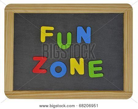 Fun Zone written on traditional school slate