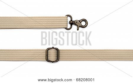 Close Up Of A Belt With Snap-hook Isolated On A White Background