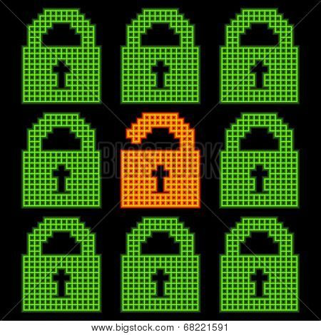Online Web Security Concept Represented In 8-bit Pixel-art Padlock Icons