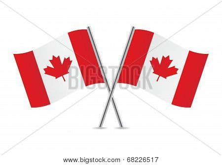 Canadian flags. Vector illustration.