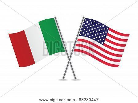 American and Italian flags.