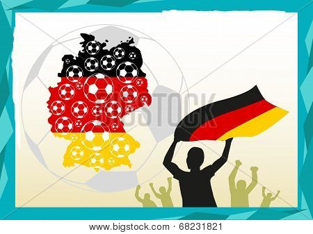 Germany Map with Football and Fans celebrating concept
