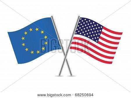 European Union and American flags. Vector illustration.