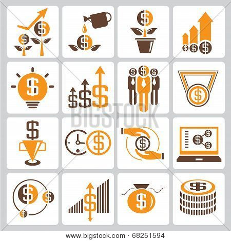 investment icons, orange color theme