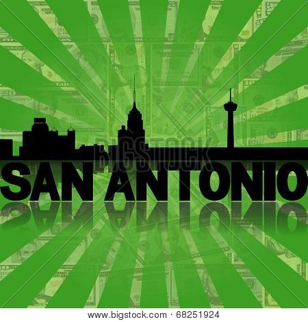 San Antonio skyline reflected with green dollars sunburst illustration