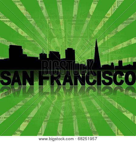 San Francisco skyline reflected with green dollars sunburst illustration
