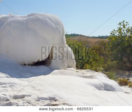 Snow-like Limestone Of Pamukkale Neighbouring With Green Plants