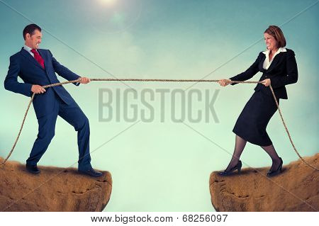 Man And Woman Tug Of War
