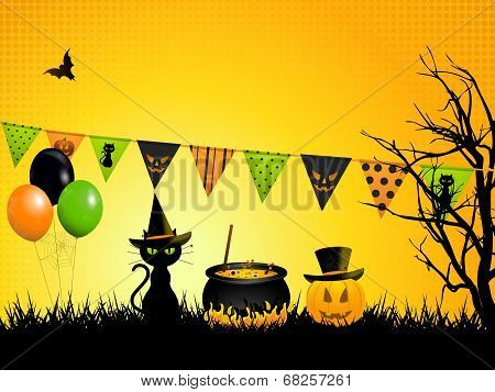Halloween Cauldron and Cat Background