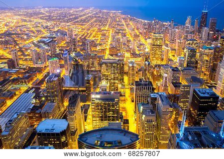 Aerial view of Chicago city and Lake Michigan