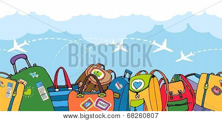Multiple colorful suitcases  bags and backpacks
