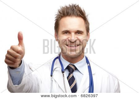 Young handsome Happy Smiling Male Doctor Shows Thumb up