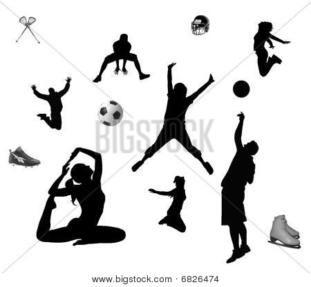 Men and women living active life with different kind off sports. poster