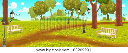 Park with benches and street lamps. Cartoon vector illustration