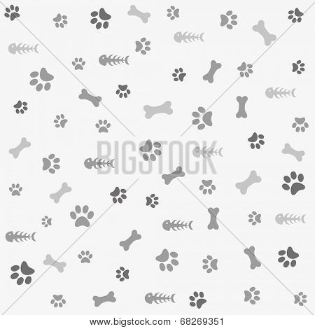 Background with dog and cat paw print, bone, fish bone