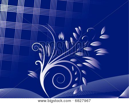 Abstract blue background with ornament