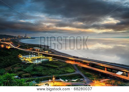 Panoramic view of beach skyline and highway for adv or others purpose use poster