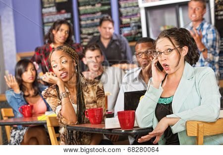 Talkative Woman In Cafe