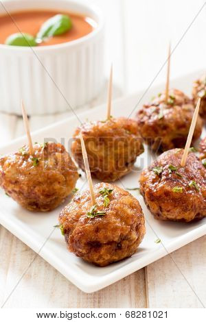 Juicy Meatballs In Plate