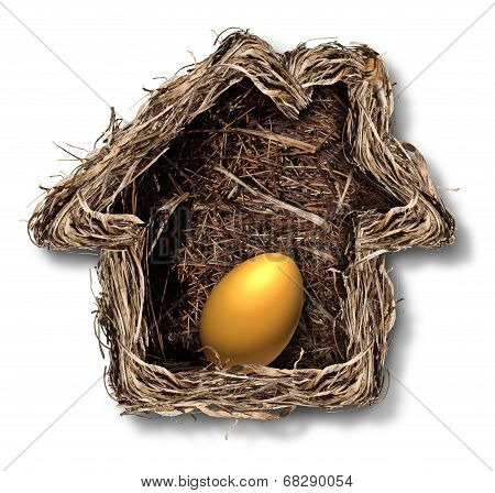 Home finances and residential equity symbol as a bird nest shaped as a family house with a gold egg inside as a metaphor for financial security planning and investing in real estate for retirement freedom. poster