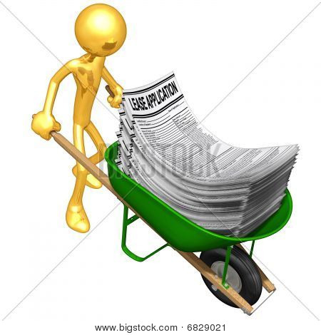 Gold Guy With Wheelbarrow Full Of Lease Applications