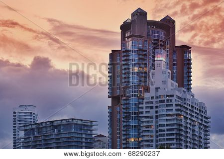 Miami Beach Condos At Sunset